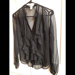 Black sheer ruffle blouse